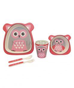 ظرف غذاخوری ۵ تکه بامبو طرح جغد Owl