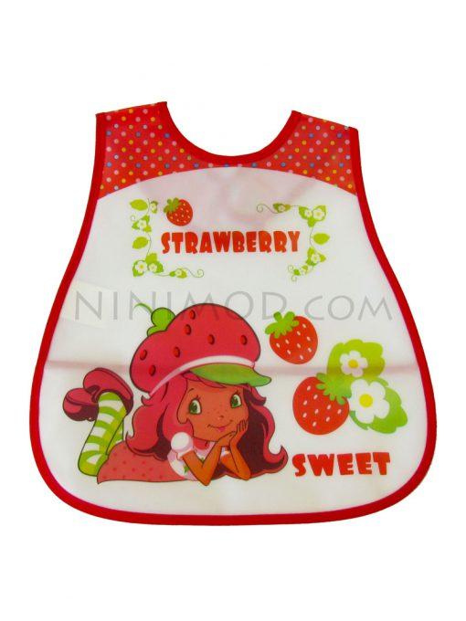 پیشبند ژله ای نوزاد با طرح توت فرنگی