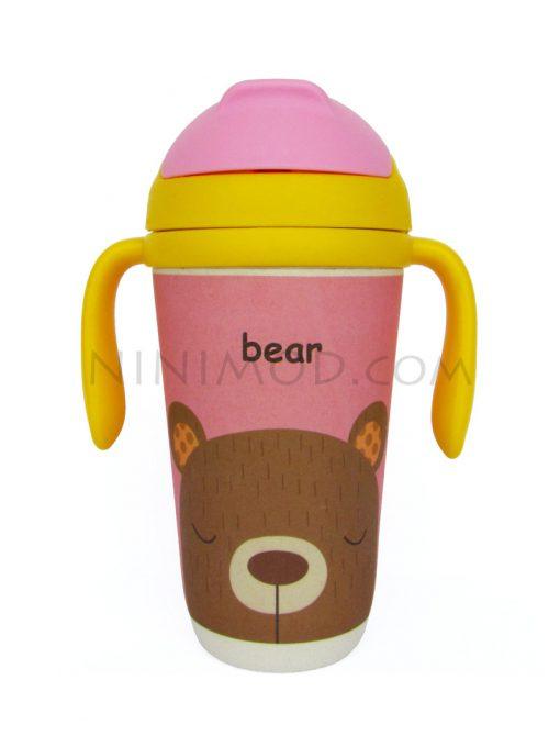 لیوان نی دار بامبو با طرح خرس
