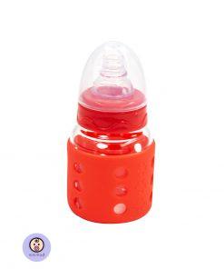 شیشه شیر شیشه ای قنداق خوری با کاور ژله ای کودک و نوزاد