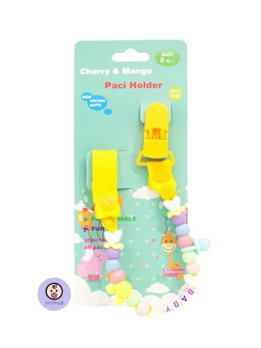 زنجیر پستانک مدل Cherry & Mango رنگ زرد