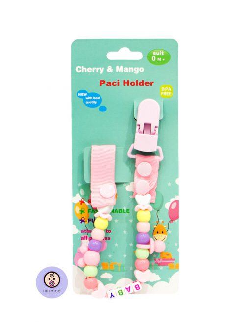 زنجیر پستانک مدل Cherry & Mango رنگ صورتی