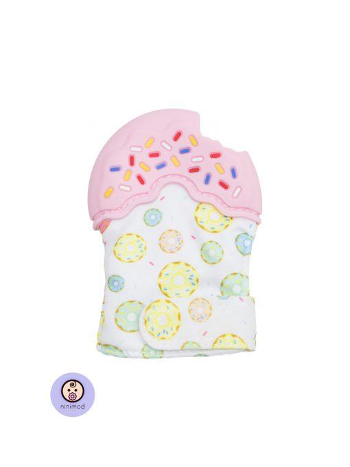 دنداگیر نوزاد طرح دونات رنگ صورتی