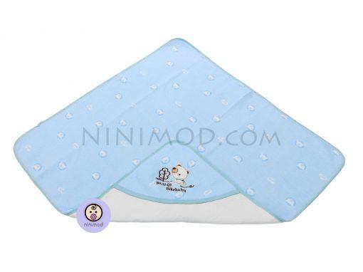 پتو کلاه دار نوزاد رنگ آبی 1
