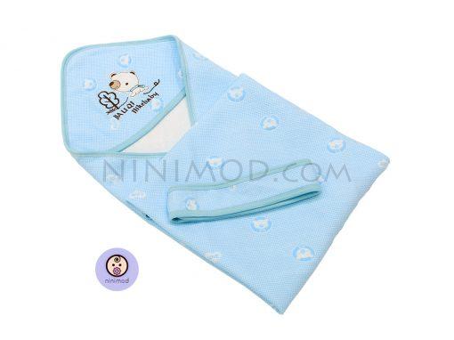 پتو کلاه دار نوزاد رنگ آبی