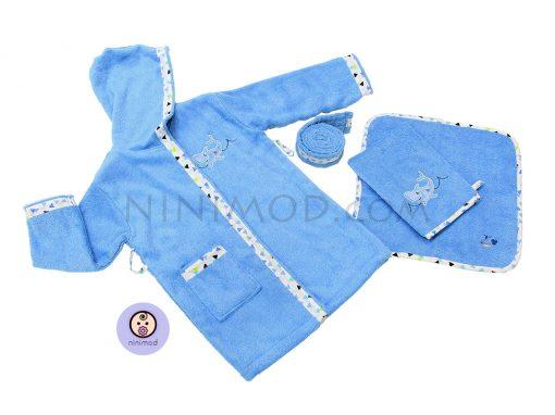 حوله تن پوش سه تکه طرح کوسه رنگ آبی