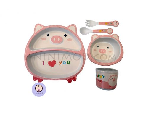 ست ظرف غذا خوری بامبو طرح Fat pig