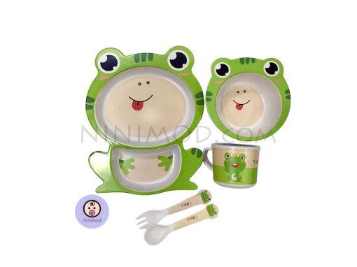 ست ظرف غذا خوری بامبو طرح Frog
