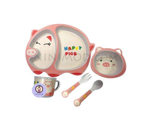 ست ظرف غذا خوری بامبو طرح Miss pig