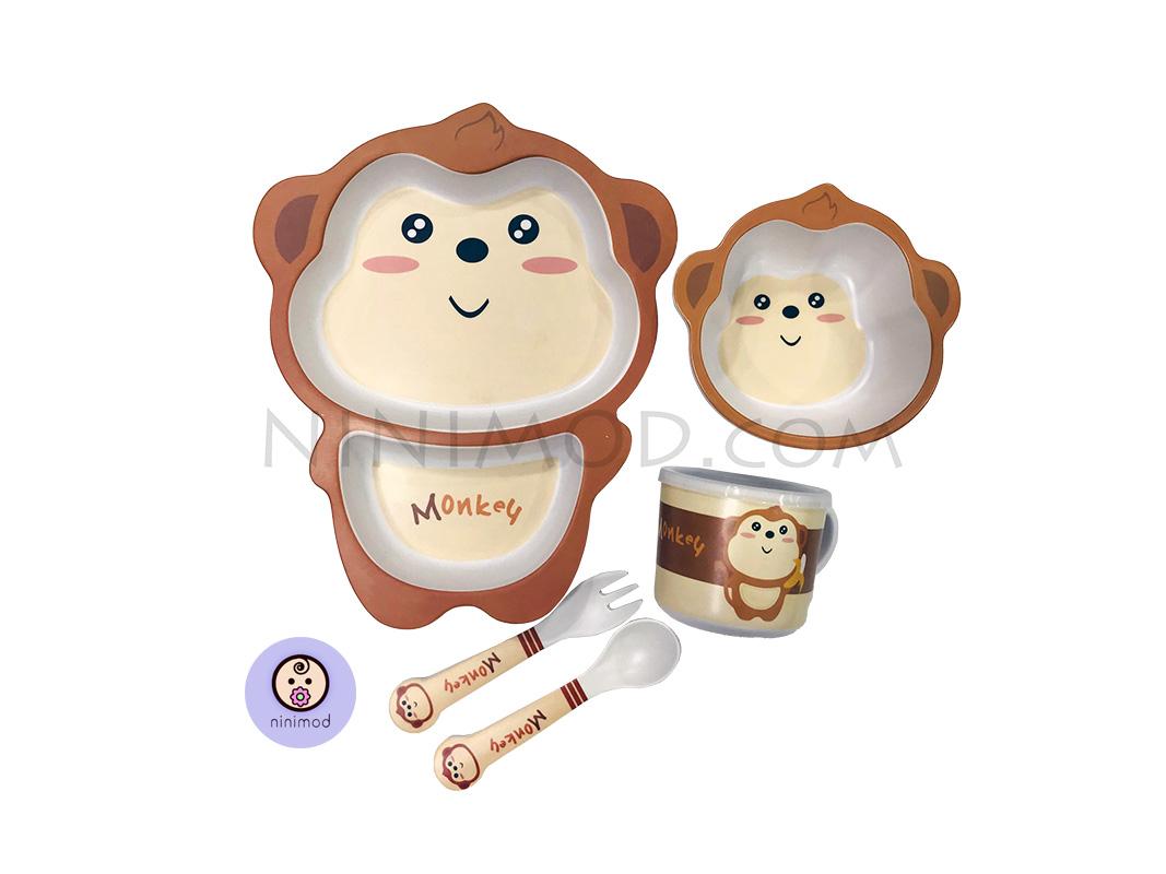 ست ظرف غذا خوری بامبو طرح Monkey